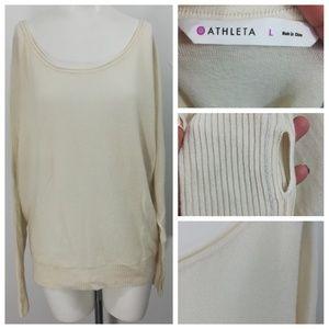 Athleta Adi Mudra Cashmere Sweater Size L Cream